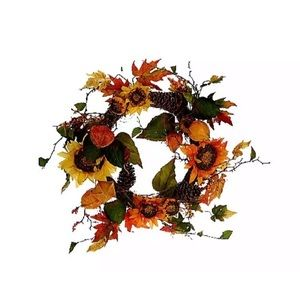 "26"" Sunflower Wreath by Valerie QVC H206229 NEW"